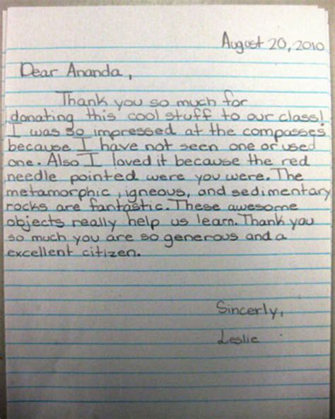 thank you letter to from elementary student guidelines for student thank yous help center