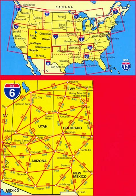 grand mappa mappa stradale n 6 usa southwest con southern rockies