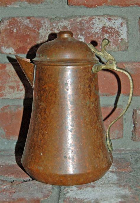 copper decor accents vintage pitcher copper brass rustic