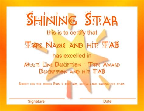 Superstar Title Card Template by Award Certificate Templates Best Template Design