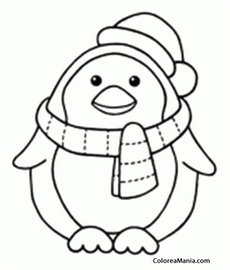 colorear pingino con bufanda y gorro animales polares
