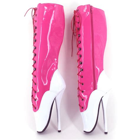 aliexpress buy shiny leather knee high pink white