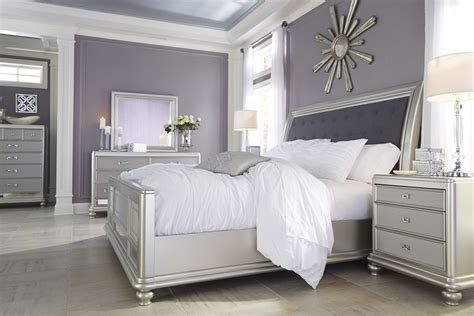 Bedroom Furniture Silver Coralayne Silver Bedroom Set B650 157 54 96 Furniture