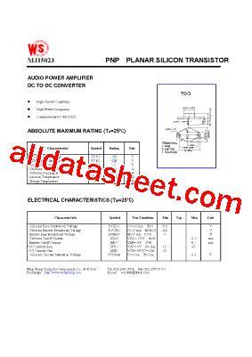 transistor mj15023 datasheet mj15023 datasheet pdf wing shing computer components