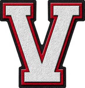 La V Presentation Alphabets White Cardinal Varsity Letter V