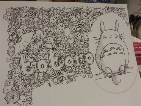 how to do doodle painting totoro doodleart by maggiekan on deviantart