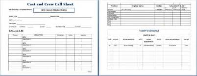 Call Sheet Template by Cast And Crew Call Sheet Template Word Excel Templates