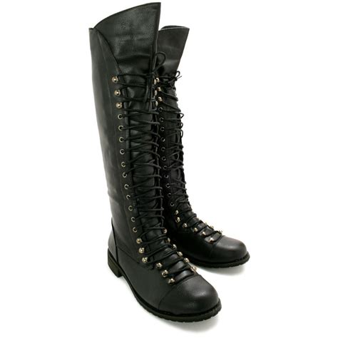womens flat biker boots womens flat lace up knee high biker boots size ebay