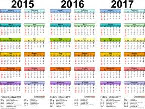 3 Year Calendar Template by 2015 2016 2017 Calendar 4 Three Year Printable Word