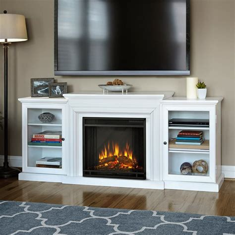 wall mount electric fireplace with thermostat shop real 72 in w 4 780 btu white wood wall mount