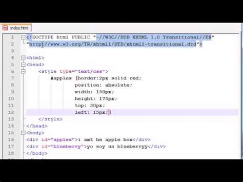 tutorial on css positioning xhtml and css tutorial 36 absolute positioning youtube