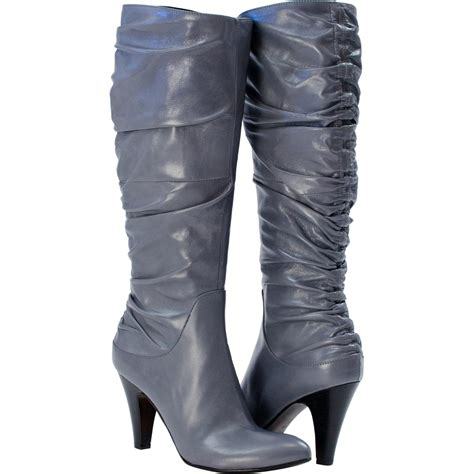 valentina knee high bunched boots grey paolo shoes