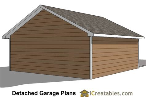 2 1 2 Car Garage Plans by 22x26 2 Car 1 Door Detached Garage Plans