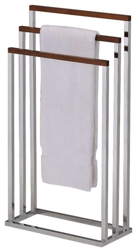 wood towel rack stand chrome metal  walnut finish