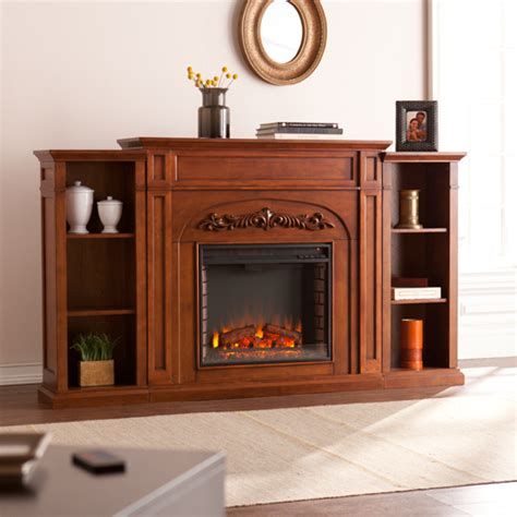 electric fireplace bookcase 72 5 quot chantilly bookcase electric fireplace autumn oak fe8532 fi8532