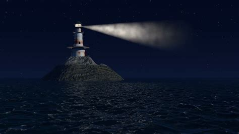 light house at night computer generated lighthouse at night with stars and a