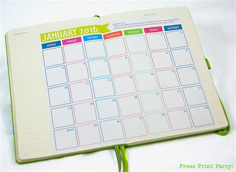 bullet journal printables 2016 calendar template 2016