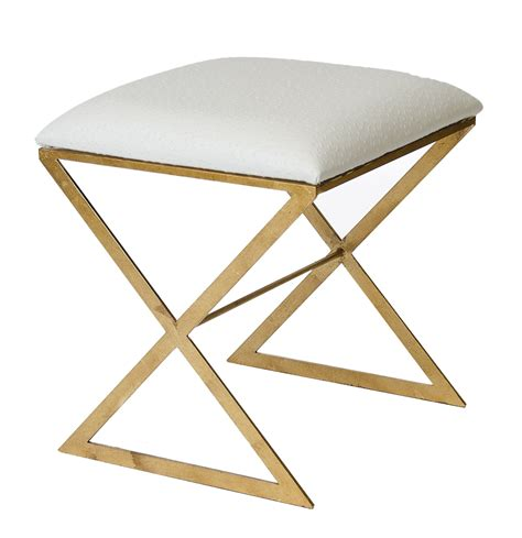 Stool On X by X Gold Leaf Stool With Faux Ostrich Top Shop Now