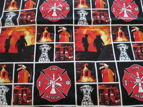 Fireman Quilt Fabric by Line Of Duty Firefighter Fabric