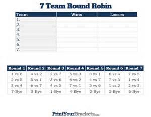 7 team round robin printable tournament bracket