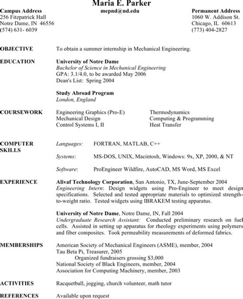 mechanical engineering resume templates for free formtemplate