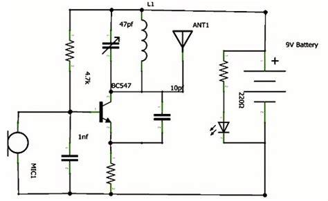 transistor bc547 adalah skema rangkaian pemancar radio fm mini