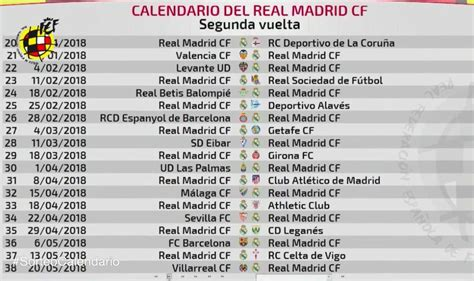 Calendario De Liga Real Madrid Conoce El Calendario Completo De Liga Real Madrid La
