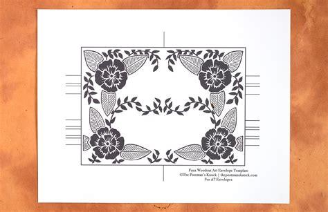 printable envelope art three faux woodcut art printable envelope templates the