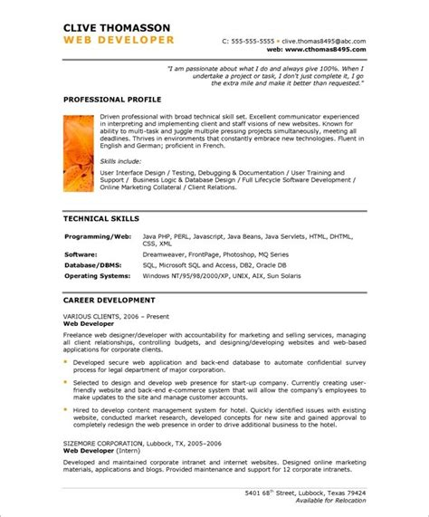 web developer free resume sles blue sky resumes