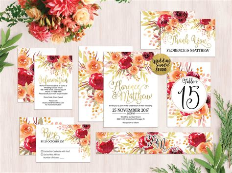 Chic Floral Orange And Thanksgiving Place Cards Template by Bohemian Boho Wedding Invitation Decor Guide