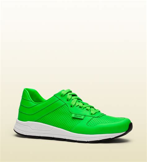 neon green sneakers gucci neon leather low top sneaker in green for lyst