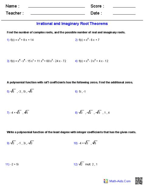 Roots Of Polynomials Worksheet algebra 2 worksheets polynomial functions worksheets