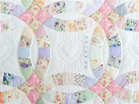 king floral pastel double wedding ring quilt photo 4