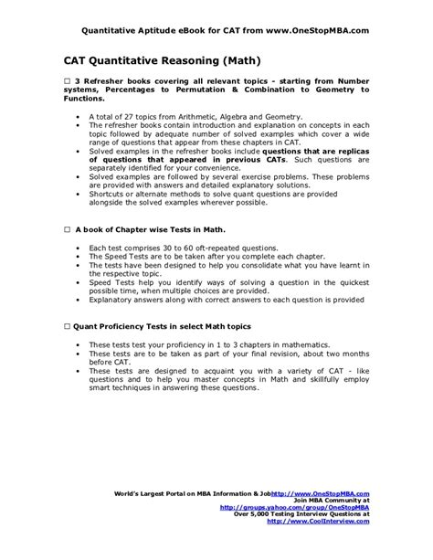 Quantitative Skills Classes Mba by Cat Quantitative Reasoning Math