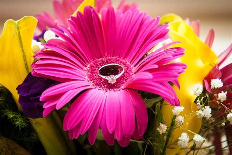 Engagement Flower Bouquet by Sligo Wedding Photography Brides Engagement Ring In Flower