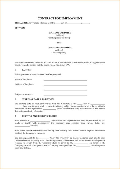 Agreement Letter Uk by Basic Employment Contract Template Templates Resume