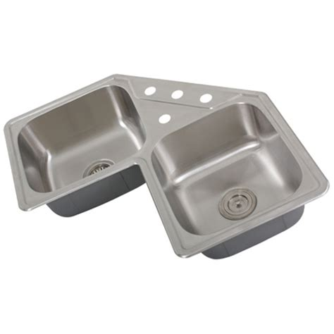stainless steel corner sink ticor s999 corner overmount 18 stainless steel