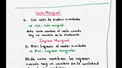 calculo del ingreso marginal youtube aplicaci 243 n de la derivada a la econom 237 a costo marginal e
