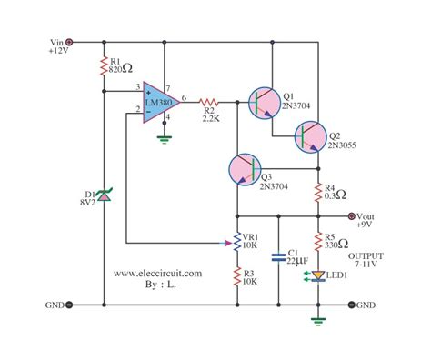 12v resistor to 9v gt circuits gt 12v to 9v 2a step dc converter using ic 741 and 2n3055 l40760 next gr