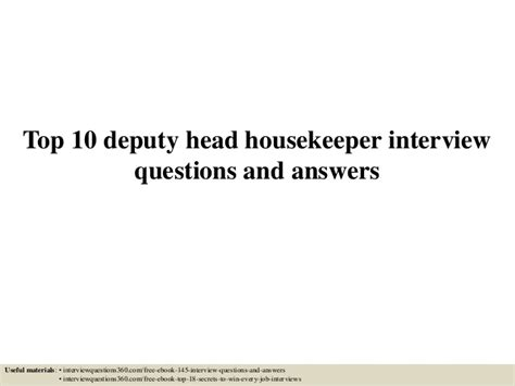 top 10 deputy housekeeper questions and answers