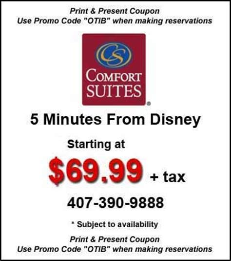 Comfort Suites Discount by Comfort Inn Maingate Hotel Orlando Hotel Coupons