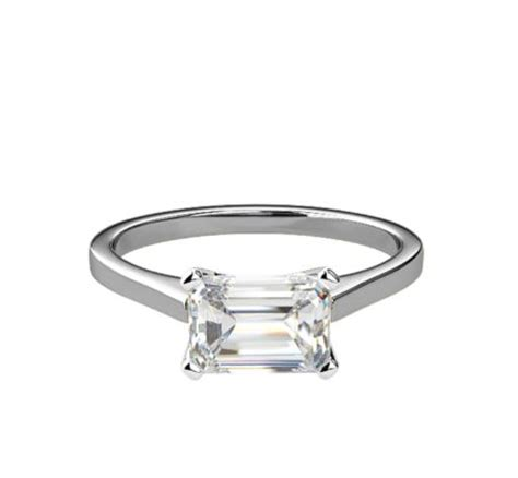 engagement ring attractive 4 claw solitaire emerald cut