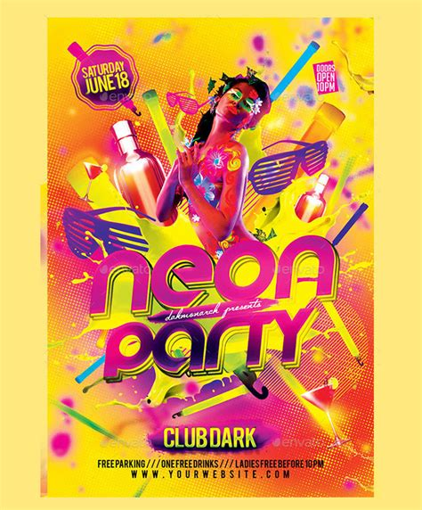 31 Best Neon Party Flyer Psd Templates Free Premium Designyep Neon Flyer Template Free