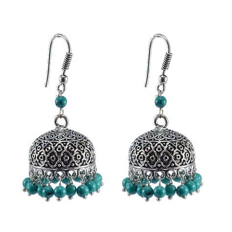 Buy Handcrafted Jewelry - buy ethnic oxidized jhumka with reconstituted turquoise