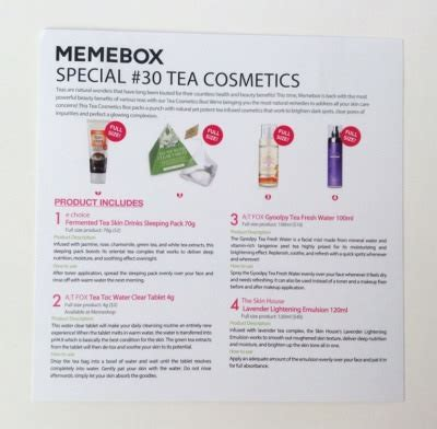 Fox Detox Discount Code by Memebox Special 30 Tea Cosmetics Review New October