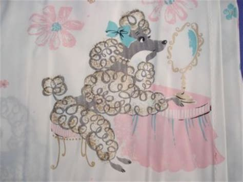 poodle shower curtain adorable vtg 50s retro plastic shower curtain poodles