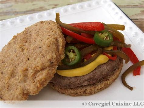 paleo recipes cavegirl cuisine paleo llama burgers with pickled peppers on a nourishe sandwich