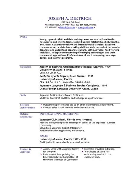 Free Resume Templates by Sle Cv