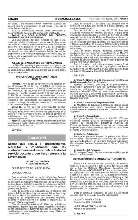 normas de contratacion docente 2016 minedu ds n 176 002 2016 minedu nt contrataci 243 n docente 2016