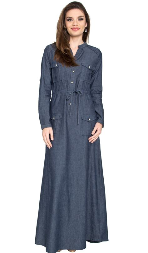 St Dress Muslim Stella Maxy Denim Maxi Dress Dresscab Denim Maxy Dress
